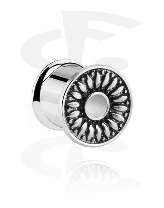 Tunnel & Plug, Double flared plug con fiore, Acciaio chirurgico 316L