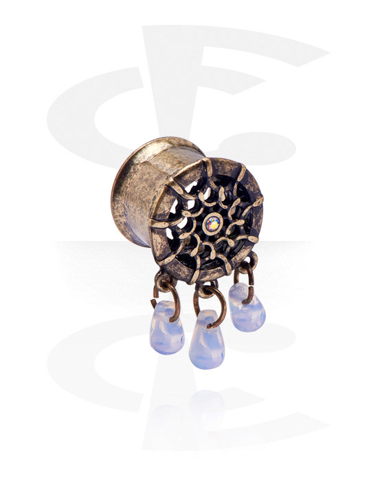 Tunele & plugi, Double Flared Tunnel z Crystal Beads, Stal chirurgiczna 316L