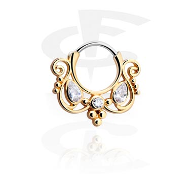 Kolczyki do nosa, Jewelled Septum Clicker, Gold Plated