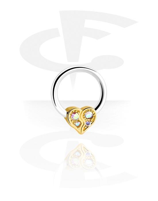Renkaat, Ball closure ring kanssa heart attachment, Kirurginteräs 316L, Pinnoitettu messinki