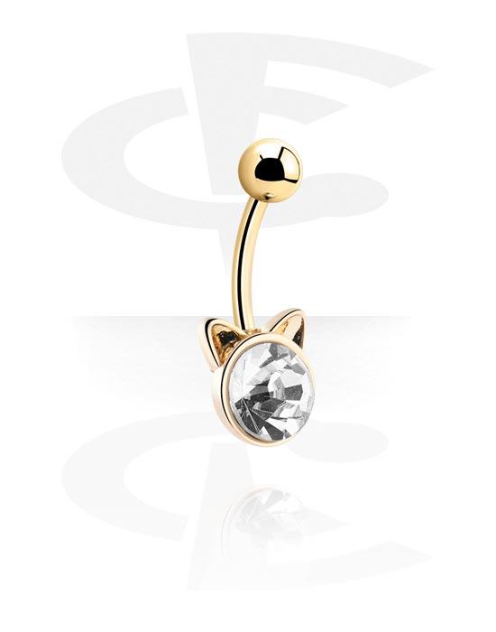 Zaobljene šipkice, Fashion Banana s cat design, Pozlaćeni kirurški čelik 316L, Pozlaćeni mesing
