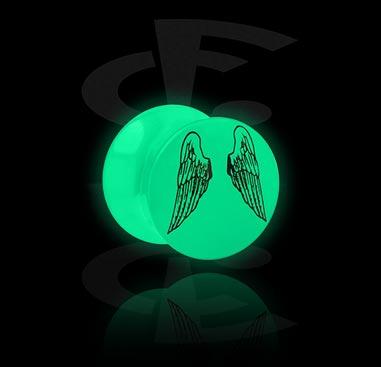 Plug Glow in the Dark avec motif d'aile