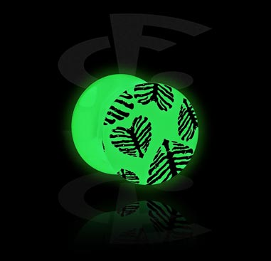 Plug Glow in the Dark avec motif de feuille