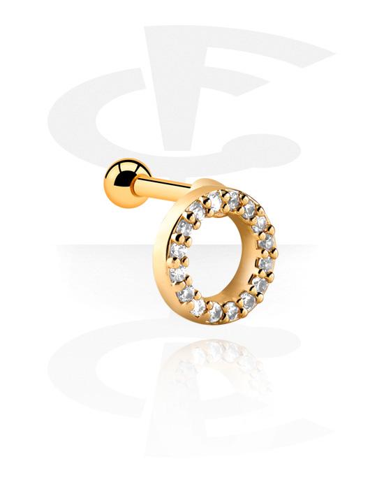 Helix / Tragus, Helix piercing, Kultapinnoitteinen kirurginteräs 316L, Kultapinnoitteinen messinki