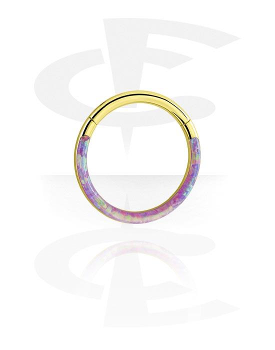 Renkaat, Monikäyttönipistin kanssa Synthetic Opal, Kultapinnoitteinen kirurginteräs 316L