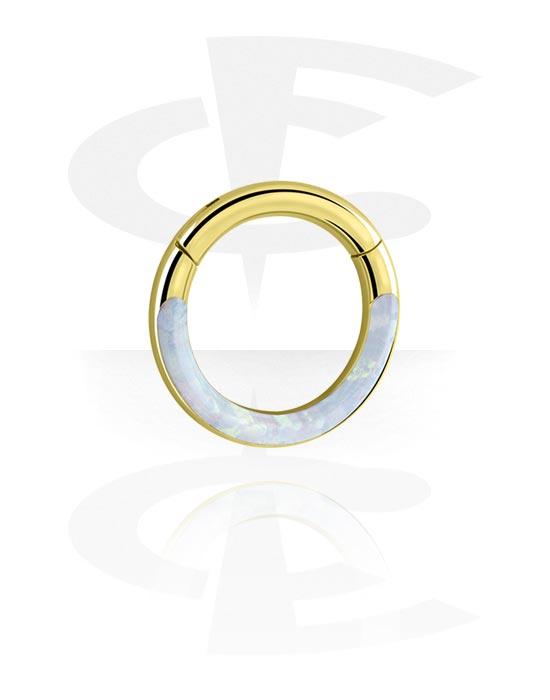 Piercingringen, Multifunctionele clicker met Synthetic Opal, Verguld chirurgisch staal 316L