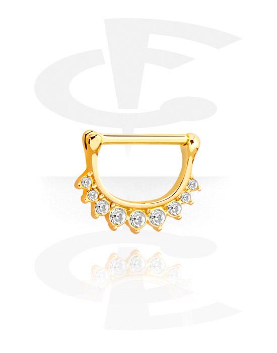 Biżuteria do piercingu sutków, Nipple Clicker z crystal stones, Pozłacana stal chirurgiczna 316L