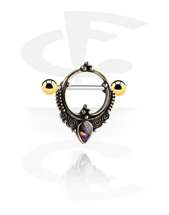 Piercingové šperky do bradavky, Nipple Shield s crystal stone, Chirurgická ocel 316L, Pozlacená chirurgická ocel 316L