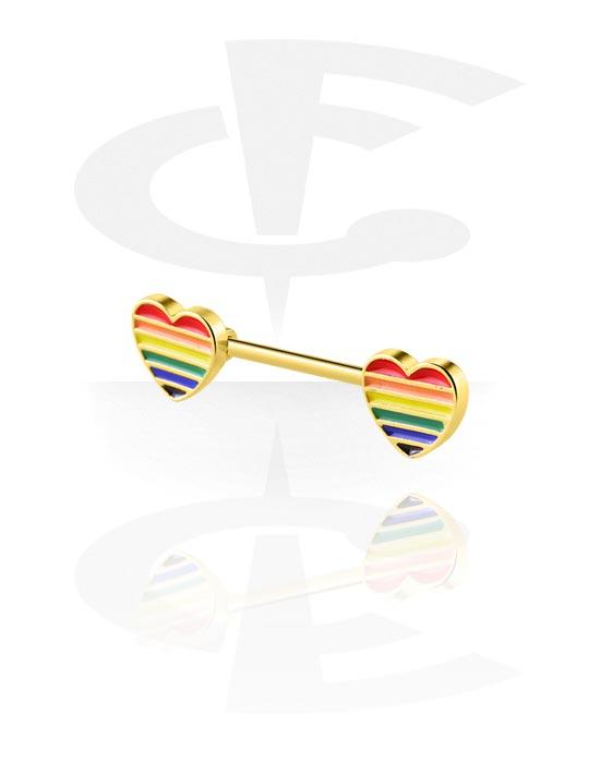 Nännikorut, Nipple Barbell kanssa heart attachment, Kultapinnoitteinen kirurginteräs 316L, Kultapinnoitteinen messinki
