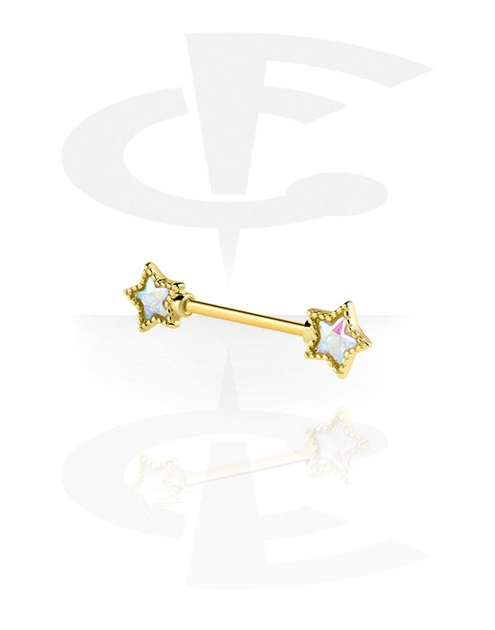 Nipple Piercings, Nipple Barbell with star attachment, Gold Plated Surgical Steel 316L, Gold Plated Brass