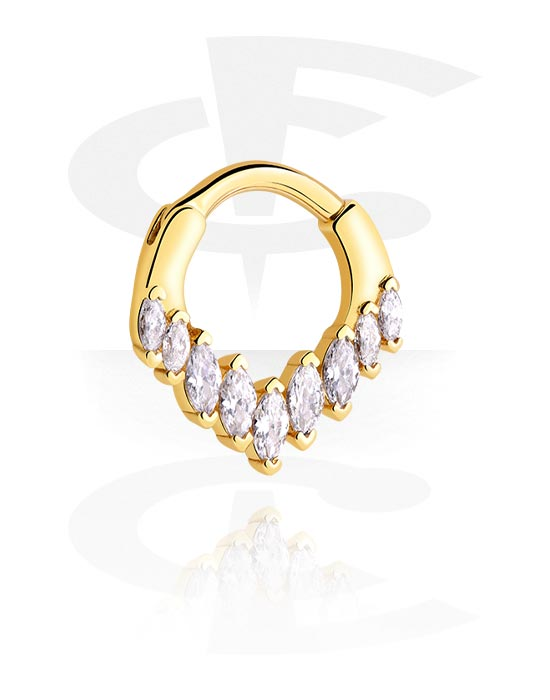 Renkaat, Monikäyttönipistin kanssa crystal stones, Kultapinnoitteinen kirurginteräs 316L