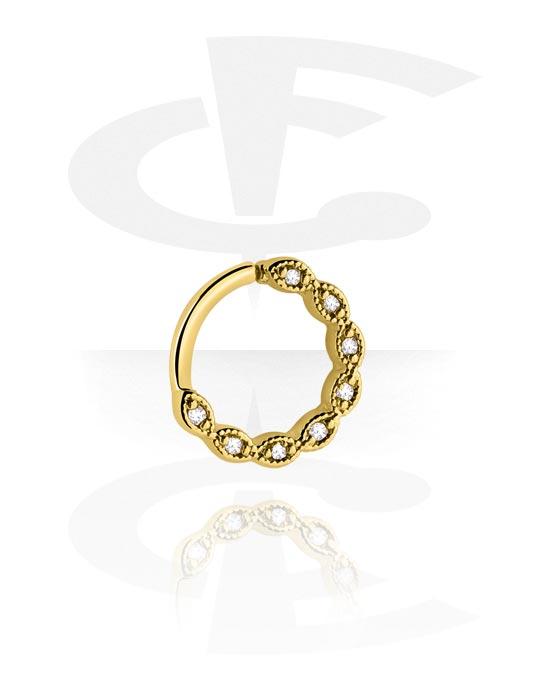 Alke za piercing, Continuous ring, Pozlaćeni kirurški čelik 316L