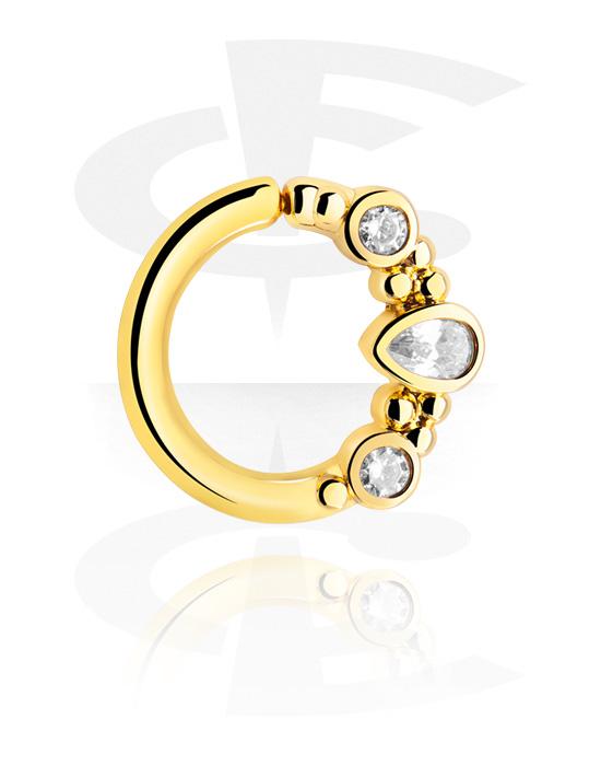 Renkaat, Continuous ring kanssa crystal stones, Kultapinnoitteinen kirurginteräs 316L