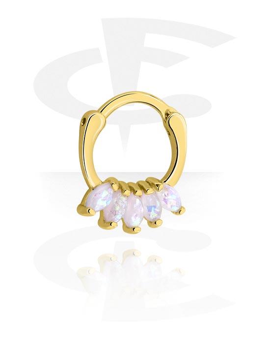 Alke za piercing, Višenamjenski kliker s crystal stones, Pozlaćeni kirurški čelik 316L