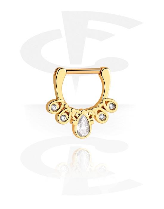 Nenäkorut, Septum Clicker kanssa crystal stones, Kultapinnoitteinen kirurginteräs 316L