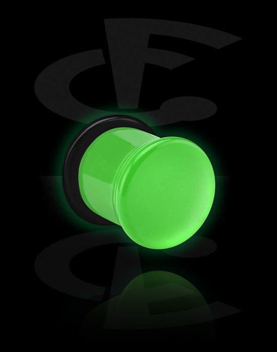 "Tunele & plugi, ""Glow in the Dark"" Single Flared Plug z O-Ring, Akryl"