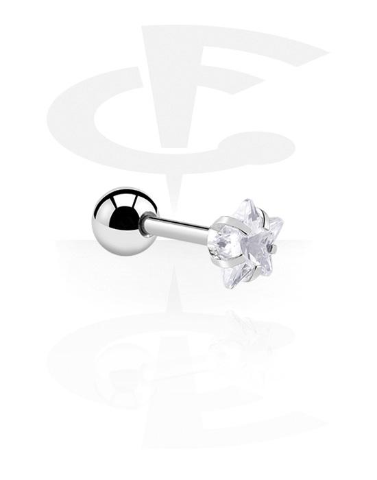 Helix / Tragus, Tragus Piercing s star design, Kirurški čelik 316L