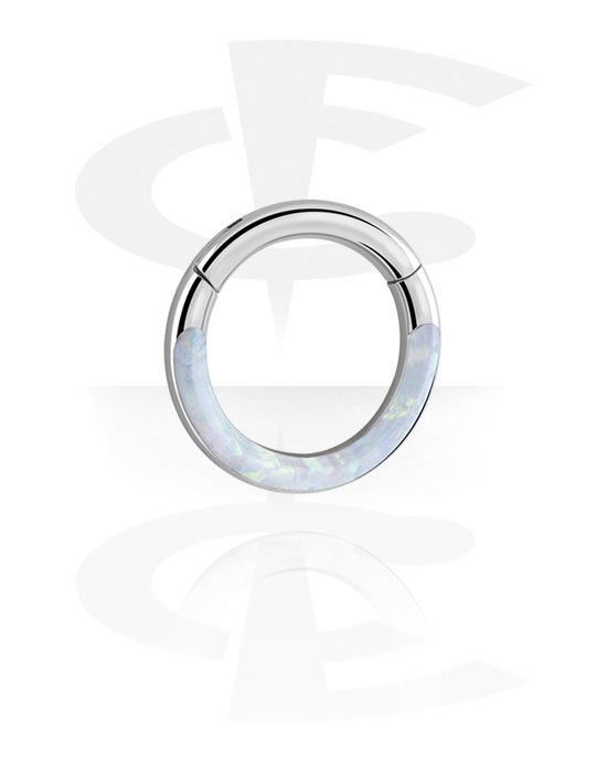 Piercing Rings, Multi-Purpose Clicker with Synthetic Opal, Surgical Steel 316L