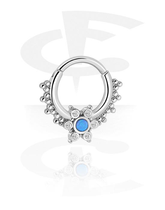 Alke za piercing, Višenamjenski kliker s Synthetic Opal i crystal stones, Kirurški čelik 316L