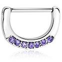 Piercingové šperky do bradavky, Nipple Clicker s crystal stones, Surgical Steel 316L