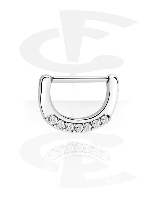 Biżuteria do piercingu sutków, Nipple Clicker z crystal stones, Stal chirurgiczna 316L