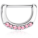 Bröstvårtspiercingar, Nipple clicker med kristallstenar, Kirurgiskt stål 316L