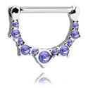 Nipple Piercings, Nipple Clicker with Crystal Stones, Surgical Steel 316L