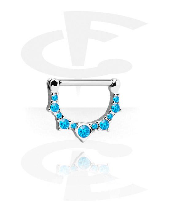 Biżuteria do piercingu sutków, Nipple Clicker z crystal stones, Stal chirurgiczna 316L, Powlekany mosiądz
