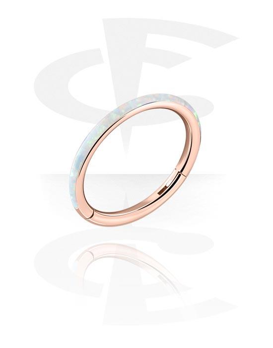 Piercing Ringe, Mehrzweck-Klicker mit synthetischem Opal, Rosé-Vergoldeter Chirurgenstahl 316L