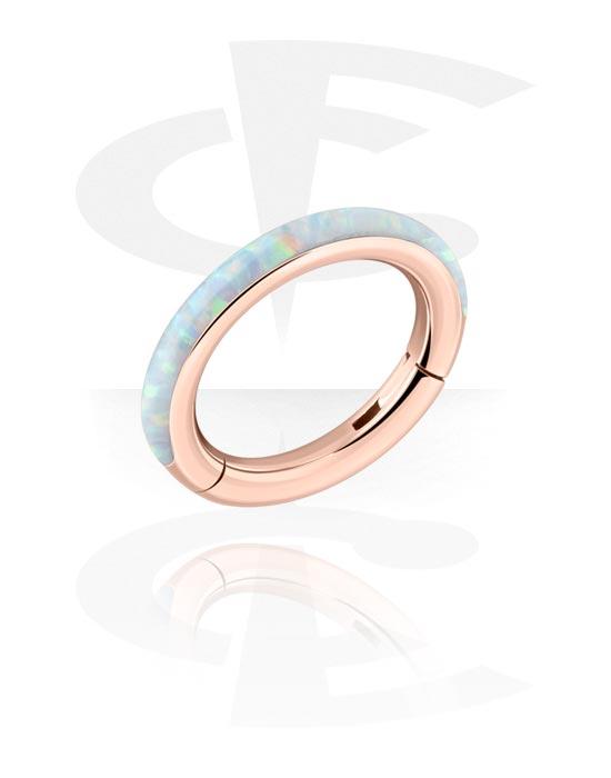 Piercingringen, Multifunctionele clicker met Synthetic Opal, Met roségoud verguld chirurgisch staal