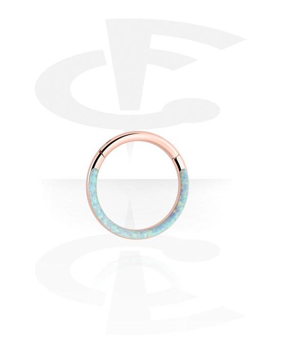 Renkaat, Monikäyttönipistin kanssa Synthetic Opal, Ruusukultapinnoitteinen kirurginteräs 316L