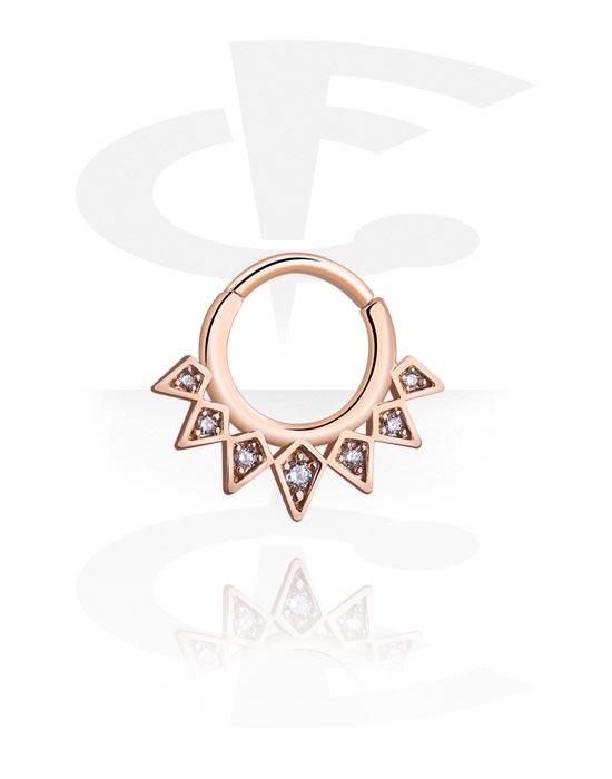 Alke za piercing, Višenamjenski kliker s crystal stones, Kirurški čelik pozlaćen ružičastim zlatom 316L