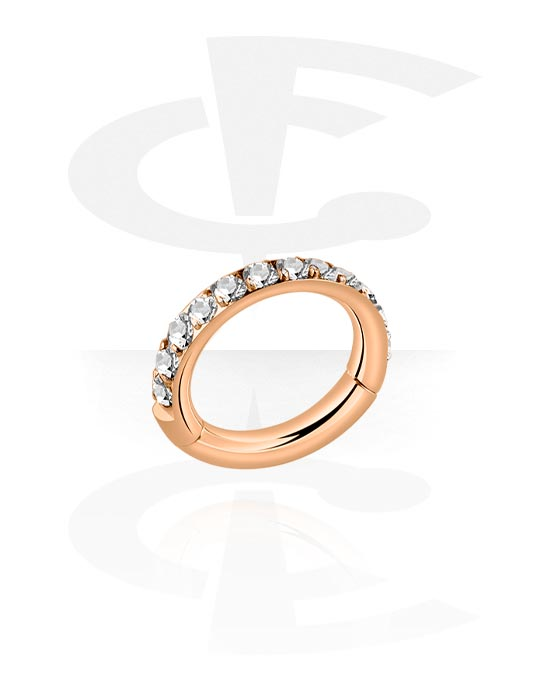 Piercing Rings, Multi-Purpose Clicker with crystal stones, Rose Gold Plated Surgical Steel 316L