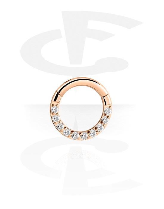 Piercing Ringe, Mehrzweck-Klicker mit Kristallsteinchen, Rosé-Vergoldeter Chirurgenstahl 316L