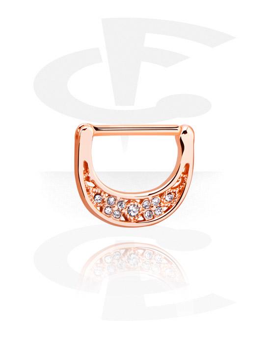 Biżuteria do piercingu sutków, Nipple Clicker z crystal stones, Stal chirurgiczna powlekana różowym złotem 316L