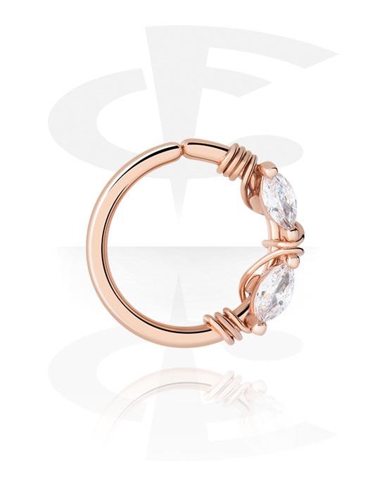 Piercingové kroužky, Continuous ring, Mosaz pozlacená růžovým zlatem