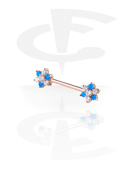 Nipple Piercings, Nipple Barbell, Rose Gold Plated Surgical Steel 316L, Rose Gold Plated Brass