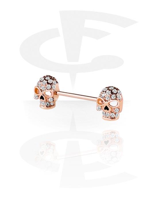 Piercingové šperky do bradavky, Nipple Barbell, Chirurgická ocel 316L pozlacená růžovým zlatem, Mosaz pozlacená růžovým zlatem
