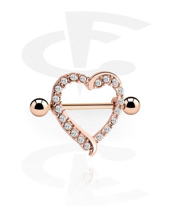 Nakit za probušene bradavice, Nipple Shield s Heart Design, Kirurški čelik pozlaćen ružičastim zlatom 316L, Ružičasto pozlaćeni mesing