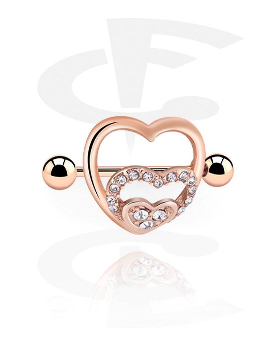 Nakit za probušene bradavice, Nipple Shield, Kirurški čelik pozlaćen ružičastim zlatom 316L, Ružičasto pozlaćeni mesing