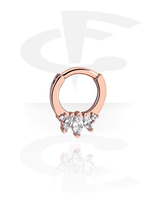 Renkaat, Monikäyttönipistin kanssa crystal stones, Ruusukultapinnoitteinen kirurginteräs 316L
