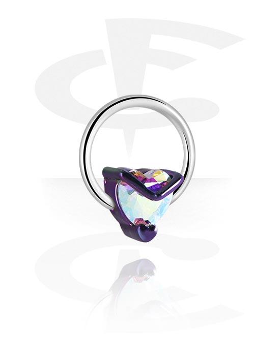 Renkaat, Ball closure ring kanssa Heart Design, Kirurginteräs 316L, Pinnoitettu messinki