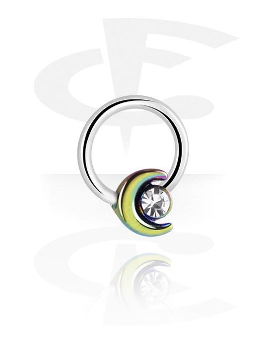 Renkaat, Ball closure ring kanssa Moon Design ja crystal stone, Kirurginteräs 316L, Pinnoitettu messinki