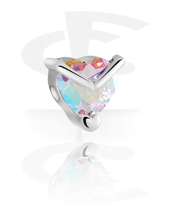 Palloja, nappeja ynnä muuta, Attachment for Ball Closure Rings kanssa Heart Design, Pinnoitettu messinki