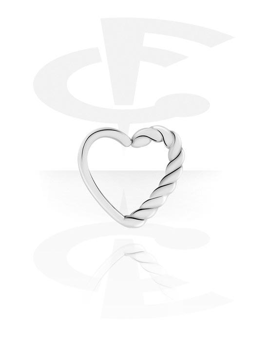 Piercingové kroužky, Continuous ring s Heart Design, Pokovená mosaz