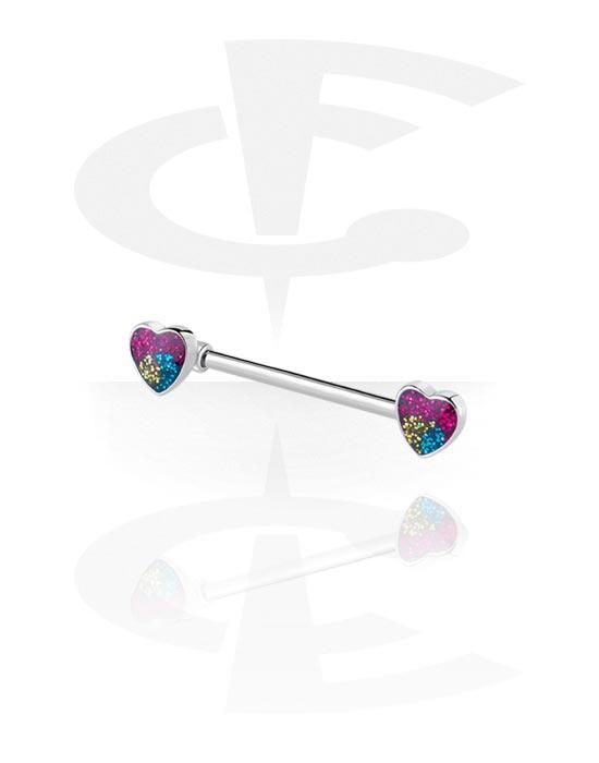 Piercingové šperky do bradavky, Nipple Barbell s Heart Design, Chirurgická ocel 316L, Pokovená mosaz