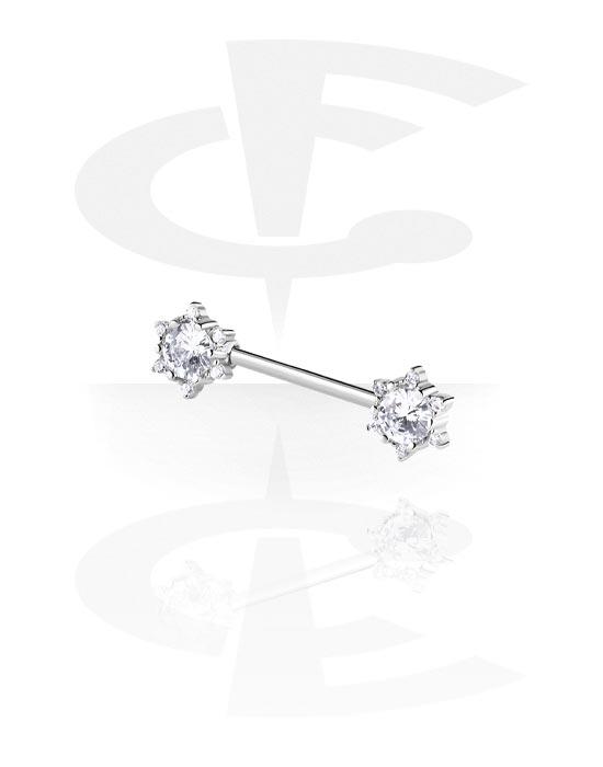 Piercingové šperky do bradavky, Nipple Barbell, Chirurgická ocel 316L ,  Pokovená mosaz