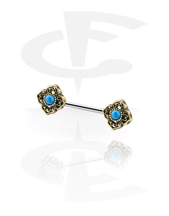 Piercingové šperky do bradavky, Nipple Barbell s antique gold attachment, Chirurgická ocel 316L
