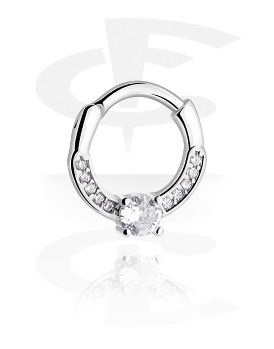 Piercingové kroužky, Víceúčelový clicker s crystal stones, Chirurgická ocel 316L