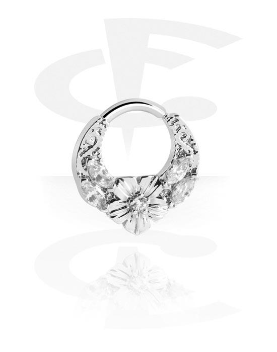Alke za piercing, Višenamjenski kliker s Flower i crystal stones, Kirurški čelik 316L